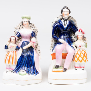 Pair of Staffordshire Pottery 'Victoria and Albert' Flatback Figures