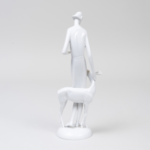 Art Deco Style Rosenthal Porcelain White Glazed Figure of a Woman and Deer