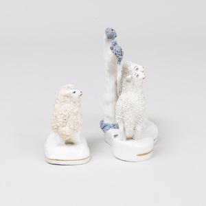 Two Rockingham Pottery Sheep Figure Groups