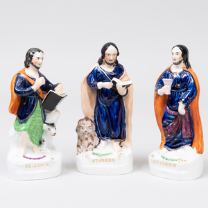 Group of Three Staffordshire Pottery Flatback Figures of Evangelists
