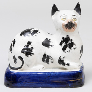 Staffordshire Creamware Model of Recumbent Cat
