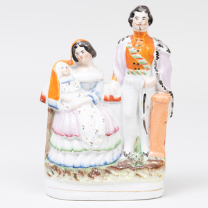 Staffordshire Pottery 'Napoleon III and Princess Eugenie' Flatback Figure Group