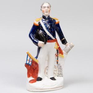 Staffordshire Pottery 'Admiral Dundas' Flatback Figure