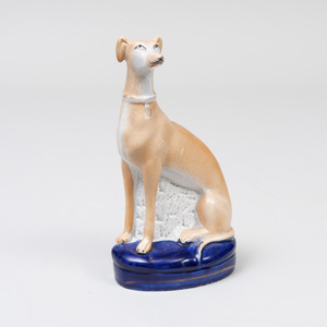 Staffordshire Pottery Model of a Seated Greyhound