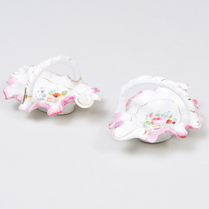 Pair of Staffordshire Pottery Pink and White Ground Baskets