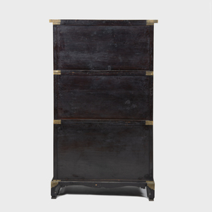 Korean Brass-Mounted and Nacre Inlaid Three Tier Chest