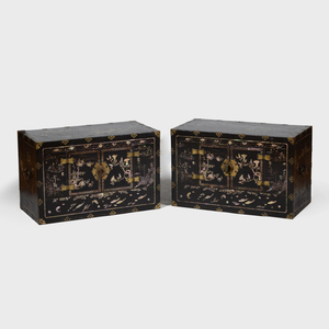 Pair of Chinese Brass-Mounted and Nacre Inlaid Tanzu