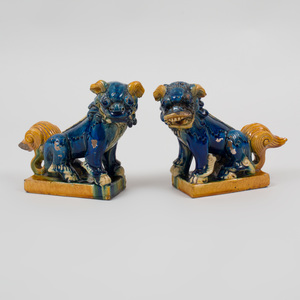 Pair of Chinese Sancai Glazed Pottery Figures of Buddhistic Lions