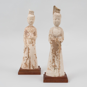 A Pair of Chinese Painted Pottery Figures of Court Ladies