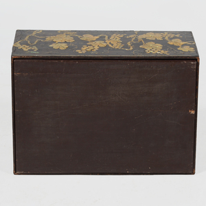 Asian Nacre Inlaid and Black Lacquered Box and Cover