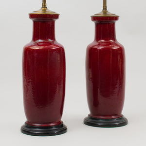 Pair of Chinese Copper Red Porcelain Vases, Mounted as Lamps