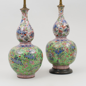 Pair of Chinese Famille Rose Porcelain Double Gourd Form Vases, Mounted as Lamps