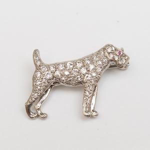 J.E. Caldwell & Co. Platinum and Diamond Dog Pin