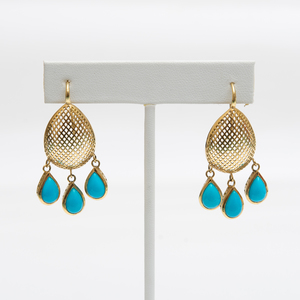 Ray Griffiths 18k Gold and Turquoise Earrings