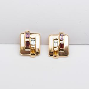 Vintage 14k Gold and Hardstone Earrings
