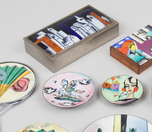 Continental Enameled Circular Silver Box and a Group of Nine Enameled Articles