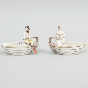 Pair of Frankenthal/Nymphenburg Porcelain Boat Form Salts with Boy or Girl at Rudder