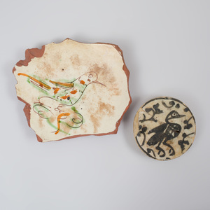 Two Middle Eastern Glazed Pottery Fragments Decorated with Birds