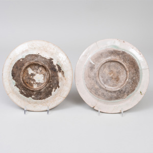 Two Middle Eastern Pottery Dishes Painted with Faces
