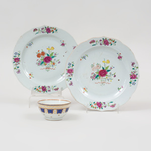 Pair of Chinese Export Famille Rose Porcelain Dishes and a Persian Market Teabowl