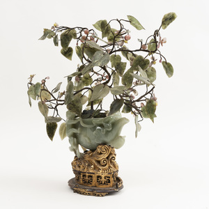 Chinese Carved Pale Green Jade Pomegranate Form Wine Vessel Fitted with Jade Fruiting Tree