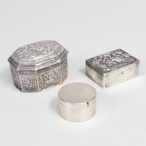 American Silver Stamp Box, a Chinese Export Silver Box, and an Indian Reposse Box