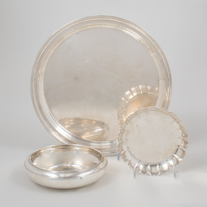 A Tiffany Silver Tray and Two Tiffany Silver Bowls
