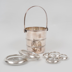Gorham Silver Plate Ice Bucket and Six American Silver-Mounted Cut Glass Coasters
