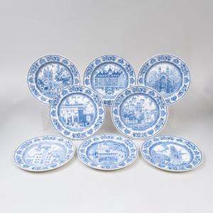Set of Eight Wedgwood Porcelain Transfer Printed 'Yale' Plates