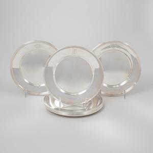 Set of Seven American Silver Bread Plates