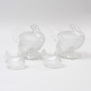 Two Pairs of Pressed Glass Bird Form Vessels and Covers