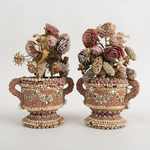 Pair of English Shell Decorated Flowers and Vases