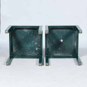 Pair of Parson Style Green Lacquered Side Tables