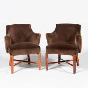 Pair of Modern Brown Upholstered Armchairs