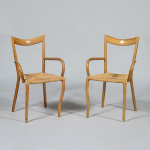 Unusual Pair of Rattan and Woven Cord Armchairs