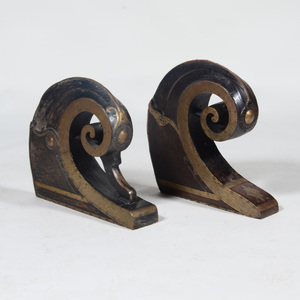 Two South Indian Brass and Wood Boat Prows