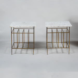Pair of Brass and White Marble Side Tables