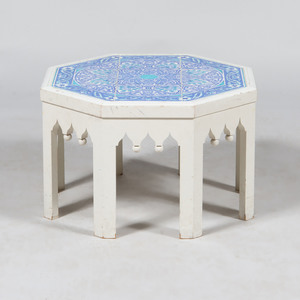 Altin Cini Tile and Painted Wood Octagonal Low Table