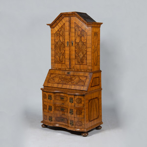German Baroque Walnut and Fruitwood Parquetry Bureau Cabinet