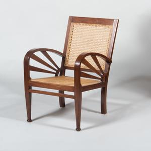 Art Deco Style Mahogany Caned Armchair