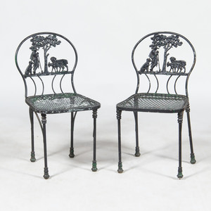 Pair of Painted Cast-Iron Side Chairs