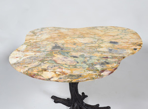 Patinated Bronze Tree Trunk Form Table with Marble Top