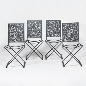 Set of Four Contemporary Cast Iron Side Chairs
