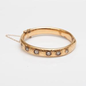 14k Gold and Diamond Hollow Bangle Bracelet