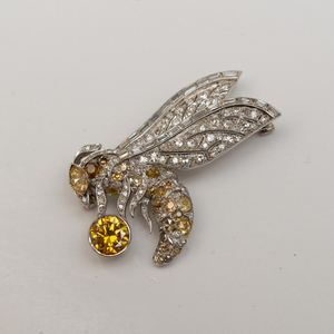 Art Deco Platinum and Diamond Wasp Pin