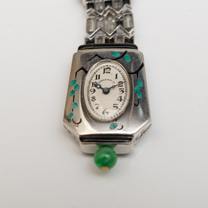 French Art Deco Platinum, Diamond and Jade Lapel Watch, Movement by Vacheron & Constantin, Retailed by Charlton & Co.