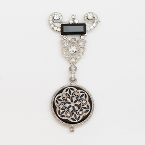 Vintage 18k White Gold, Diamond and Onyx Lapel Watch