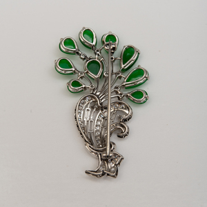 Platinum, Diamond and Jade Floral Brooch