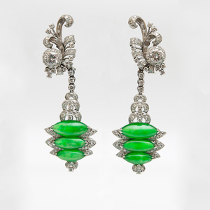 Vintage Platinum, Jade and Diamond Pendant Earrings