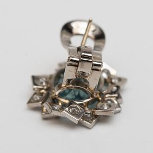 Vintage Aquamarine and Diamond Earrings